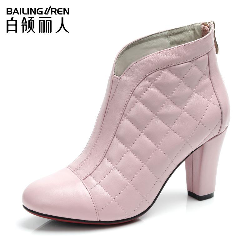 White collar 2013 winter senior calf skin electric fashion high-heeled fashion boots round toe 107d(China (Mainland))