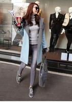 Korean new fashion fall winter women's wool cashemere slim coat ladies' warm long jacket with hoodies sky blue plus size WJ3037