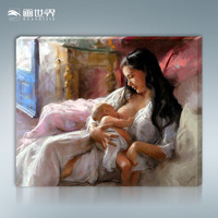 Frameless DIY paint by number kits digital oil painting mom and baby 40 50cm unique gift home decor
