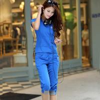 FREE SHIPPING Mm plus size casual set summer fashion female short-sleeve sportswear plus size clothing set