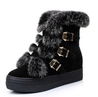 Carrie Rubber Sole Boots Genuine Leather Rabbit Fur Flat Heel Snow Boots Cotton-padded Plus Size Women's Shoes 40 - 43