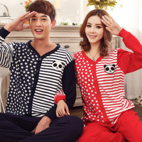 Free shipping new arrival 100% cotton sleepwear winter casual stripe long-sleeve lovers sleepwear lounge set size M L XL XXL