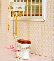 Free Shipping !Porcelain Victoria Toilet FlushToilet Golden LUXURY~ 1/12 Scale Dollhouse Miniature Furniture