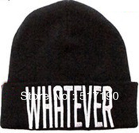 "Whosale 100% Acrylic 1pc Black ""Whatever""BEANIES HATS WOOL WINTER KNIT CAPS FOR MEN OR WOMEN FREE SHIPPING BLACK"