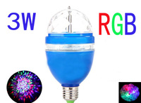Free shipping Newest Full Color LED RGB Rotating Lamp  DJ Stage Light Disco LED light Bulb 3W E27 85-260V Blue