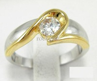 Free Shipping Women 14K Gold Plated Rings White Crystal Rings Fashion Accessories Classic Design Jewelry WIth Gift Box