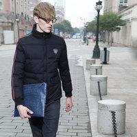 Casual high quality male short design down coat , fashion black color fashion