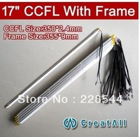 10PCS 17'' inch dual lamps CCFL with frame,LCD monitor lamp backlight with housing,CCFL with cover,CCFL:350mm,FRAME:355mm x9mm