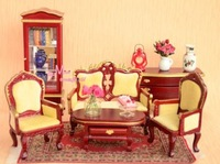 Free Shipping ! 6PCS VINTAGE RED Victoria Living Room Lots Of Chairs ~ 1/12 Scale Dollhouse Miniature Furniture