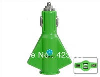 Star go ST-06 4 USB Ports Rocket Design Car Charger for HTC NOKIA LG Samsung Cell Phones (Green)