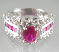 Free Shipping Women 14K Gold Plated Rings Finger Jewelry Hot Pink Crystal Jewelry Accessories With Gift Box