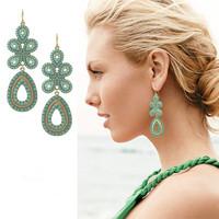 Popular fashion accessories lactophrys bohemia national trend multicolour elegant gem patchwork drop earring earrings
