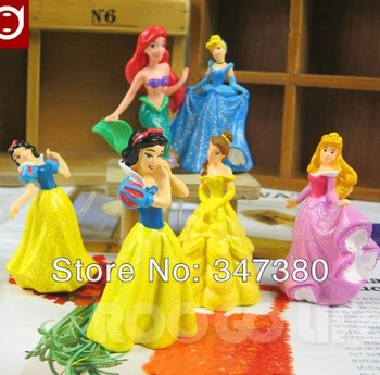 10sets/lot Cute Shiny Princess Ariel Cinderella Snow white Belle Aurora Cartoon Figure doll Christmas Difts DHL Free Shipping