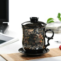 Botu ceramic cup office glass elegant cup with lid cup rattan flower