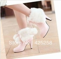 Two ways hairy ball boots winter warm  sweet round toe boots black and white pink stiletto boots women's shoes