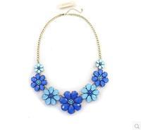 Free shipping women brand blue flowers round Water Drop diamond short necklace girls supernova sale body jewelry