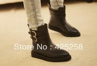 Vintage flat bottom plate platform boots women's pointed toe shoes martin short boots side buckle  fashion