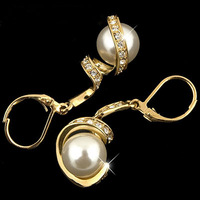 Min order 9$  MADE WITH SWAROVSKI ELEMENTS free shipping 18K  gold Gp CZ  Austrian Crystal pearl earring 925 -3