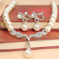 perolas The bride accessories set pearl rhinestone necklace drop female fashion wedding jewelry earthsound  perla