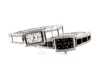 Retail& Wholesale! white Square dial Quartz Hand lady dress Wrist Bangle/Bracelet Watch white diamound carved steel