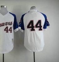 Cheap Men's Baseball Jersey #44 Hank Aaron White Throwback Baseball Jerseys Size 48-56 All Stitched(Sewn on)