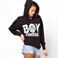 Haoduoyi boy london black hooded print autumn and winter sweatshirt fleece