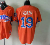 2013 All Star Game American Baseball Jersey #19 Joey Votto Orange Baseball Jerseys Men's Size 48-56 All Stitched(Sewn on)