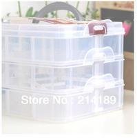 3-layer multi-purpose transparent volume utility box case for nail art craft makeup pill fishing