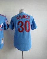 Cheap Men's Baseball Jersey #30 Tim Raines Blue Throwback Baseball Jerseys Men's Size 48-56 All Stitched(Sewn on)