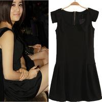 Free shipping  Mini dress women dresses classical black. sleeveless cute dress women skirt