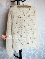 Nuan handmade three-dimensional cherry embroidery wood button cutout cardigan sweater