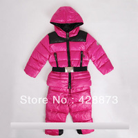 2013  good quality fashion children down coat set,  baby fashion child down jacket and pants 2 pcs set, thick warm free shipping