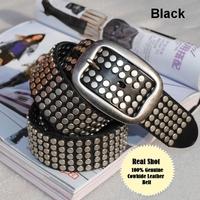 100% Genuine Leather Vintage Punk Rivet  Rock New 2013 Unisex Men Women Belts Fashion Brand  Men Belt  Male Strap Ctinto MBT0074