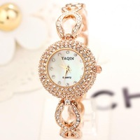 2013 High Quality Watches Women Fashion Rose Gold Luxury Quartz White Charm Bracelet Chain 1pc Free Shipping  Rolland