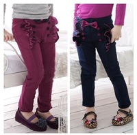 Free shipping 2013 double-breasted girls lace bowknot pants