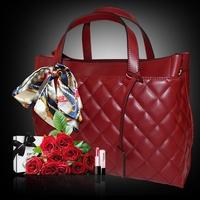 Free shipping high quality women genuine leather totes messenger bags fashion handbags medium(30-50cm) brand design handbags