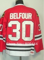 Free Shipping,Ice Hockey Jersey,#30 ED Belfour Hockey Jersey,Embroidery logos,size M-3XL,accept mix order