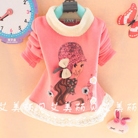 2013 female child children little girl flower xye basic shirt