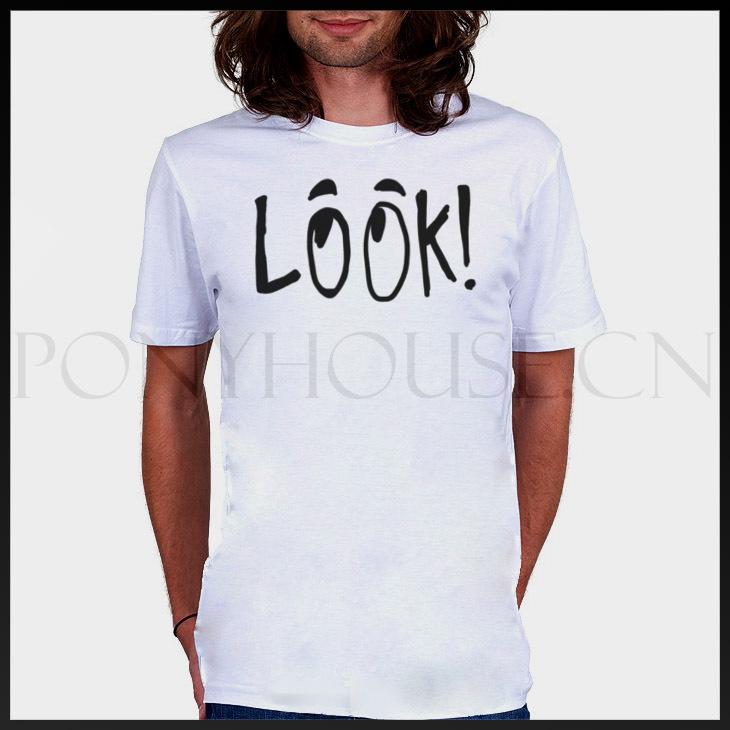 Modo Strano Inglese Shirt Maschio Grande Occhi Breve Manica