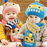 Crochet baby hats caps robbot hat scarf set baby boy girl winter cap scarf for children to keep warm