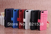 Free Shipping 1pcs Crocodile or card Flip Leather Case Cover  for iphone5S with Stand+6 Different Colors