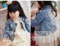 Free shipping female children's clothing washed denim princess lace coat jean jacket Children's cowboy clothing Thin