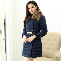 2013 winter turn-down fur collar double breasted women's down coat 3188