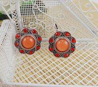 Indian accessories fashion green gem ear hook earrings