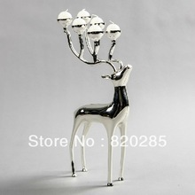 Silver plated deer shape metal candle holder, 6-arms candelabra with 6pcs free candles(China (Mainland))