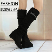 2013 autumn and winter flannelet elastic boots over-the-knee long boots taojian high-heeled high boots with a single boots