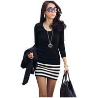 Free Shipping 2013 New Fashion Korean Style Women's Casual Slim Striped Stitching Cotton Dress Balck/White With Cheap Price