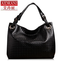 2013 women's desingers brand handbag knitted women's cowhide handbags genuine leather shoulder bag fashion messenger totes