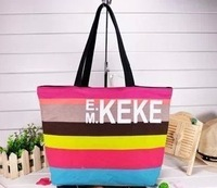 Free shipping multicolor stripes girls environmental print canvas shoulder bag