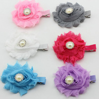 "wholesale--2""  shabby frayed chiffon flower with rhinestone alloy button hair clip"